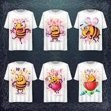 Set cute bee - mockup for your idea