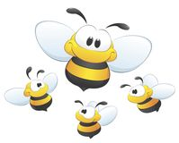 A Set of Cute Bees. A set of cartoon bees to be used as design element Stock Photos