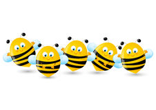 Set of cute bees on white Royalty Free Stock Photos