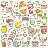 Set of Cute Beverages Doodle Stock Images
