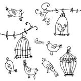Set of cute birds and branches of trees with bird's cages