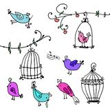 Set of cute birds and branches of trees with bird's cages Royalty Free Stock Photos