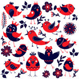 Set of cute birds, cartoon style Stock Images