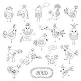 Set of cute birds in different actions Royalty Free Stock Image