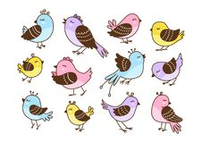 Set of 12 cute birds isolated. On white Royalty Free Stock Images