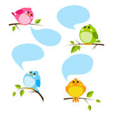 Set of cute birds. With speech bubbles Royalty Free Stock Photography