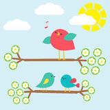 Set of cute birds on springtime branches. Vector illustration Stock Images