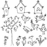 Set of cute birds, tree and and birds nesting boxe. Set of cute cartoon birds, tree and and birds nesting boxes Stock Illustration