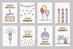 Set of cute birthday cards. Linear design. Vector illustration stock illustration