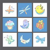 Set of cute birthday cards or prints with birds ,poster,invitation cards,template,greeting cards with elementsVector. Set of birthday cards poster invitation vector illustration