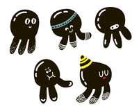 Set of cute black octopuses Stock Image
