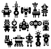 Set of cute black and white monsters. Royalty Free Stock Photos
