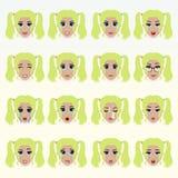 Set of cute blonde girl emoticons. Stock Photos