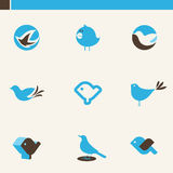 Set of cute blue birds. Icons set. Stock Photography
