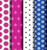 Set Cute blue and pink patterned. Stock Photos