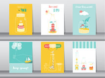 Set of cute bottle designs,poster,template,greeting cards,hand drawn,Vector illustrations Royalty Free Stock Photo