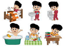 Set of daily cute boy,boy wake up,brushing teeth,kid pee,taking. A bath,breakfast,kid writhing.vector and illustration Stock Image