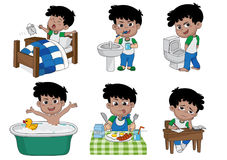 Set of daily cute boy,boy wake up,brushing teeth,kid pee,taking. A bath,breakfast,kid writhing.vector and illustration Royalty Free Stock Photo