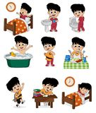 Set of daily cute boy.Boy wake up,brushing teeth,kid pee,taking. A bath,dressed up,breakfast,kid learning,kid sleep.vector and illustration Royalty Free Stock Photography