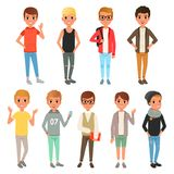 Set of cute boys characters dressed in stylish casual clothing. Kids posing with smiling face expressions. Children wear Royalty Free Stock Image