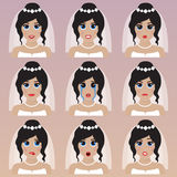 Set of cute bride emoticons. Stock Photography