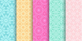 Set of cute bright seamless patterns. Abstract geometric background Royalty Free Stock Photography