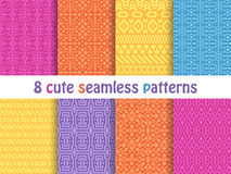 Set of cute bright seamless patterns. Abstract geometric background Royalty Free Stock Images