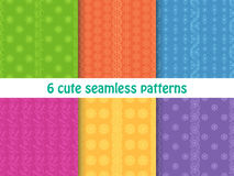 Set of cute bright seamless patterns. Abstract geometric background Stock Photos