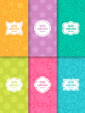 Set of cute bright seamless patterns with frames. Abstract geometric background. Vector illustration Stock Photography
