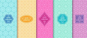 Set of cute bright seamless patterns with frames. Abstract geometric background Royalty Free Stock Photography