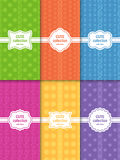 Set of cute bright seamless patterns with frames. Abstract geometric background Stock Images