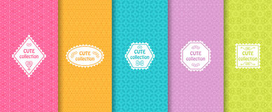 Set of cute bright seamless patterns with frames. Abstract geometric background. Vector illustration. Set of cute bright seamless patterns with frames. Abstract Royalty Free Illustration