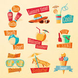 Set of cute bright summer icons with typographic Stock Photo