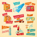Set of cute bright summer icons with typographic Stock Photos