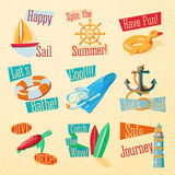 Set of cute bright summer icons with typographic Royalty Free Stock Photos