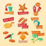 Set of cute bright summer icons with typographic Stock Images