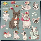 Set with cute bulldogs family. Set with cute bulldogs. vector illustration Stock Photography