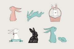 Set of cute bunnies. vector illustration Royalty Free Stock Image