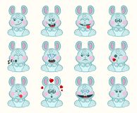 Set of cute bunny with different emotions. Character cartoon rabbit face. Avatar emoticon illustration. Bunny emoji. royalty free illustration