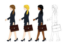 Set Cute Business Woman holding a Brief Case while Walking. Side View. Full Body Vector Illustration Royalty Free Stock Images