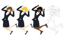 Set Cute Business Woman Jumping Celebration. Full Body Vector Illustration. Stock Photo