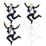 Set Cute Business Woman Jumping Celebration. Full Body Vector Illustration. Royalty Free Stock Image