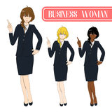 Set Cute Business Woman Pointing Up with Serious Face. Full Body Vector Illustration. On White Background Royalty Free Stock Image