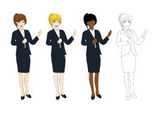 Set Cute Business Woman Presentation with Hand Pointing. Full Body Vector Illustration Royalty Free Stock Photography