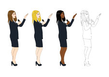 Set Cute Business Woman Presentation Holding Microphone Side View. Full Body Vector Illustration Stock Image