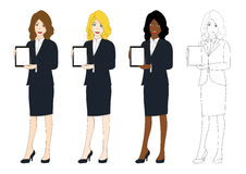Set Cute Business Woman Presentation Tablet. Full Body Vector Illustration Royalty Free Stock Photos