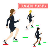 Set Cute Business Woman Running to Goal. Full Body Vector Illustration. Royalty Free Stock Photo