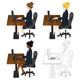 Set Cute Business Woman Sitting with Laptop. Full Body stock illustration