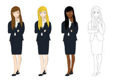 Set Cute Business Woman Thinking to Make Decision. Full Body Vector Illustration. Stock Photos