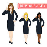 Set Cute Business Woman Thumb Up. Full Body Vector Illustration. Stock Photo
